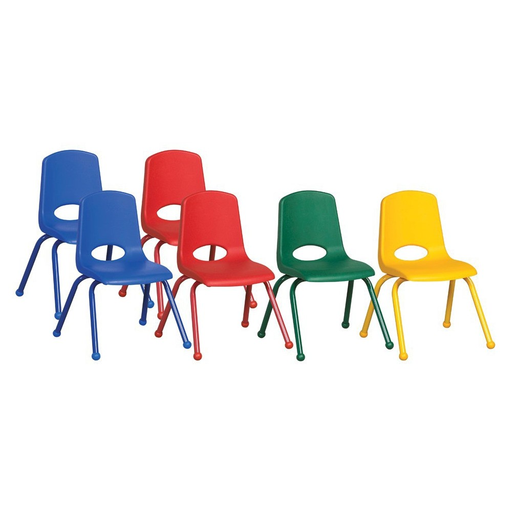 ECR4Kids Stack Chair 14 Assorted Pack - Multi-Colored, Blue