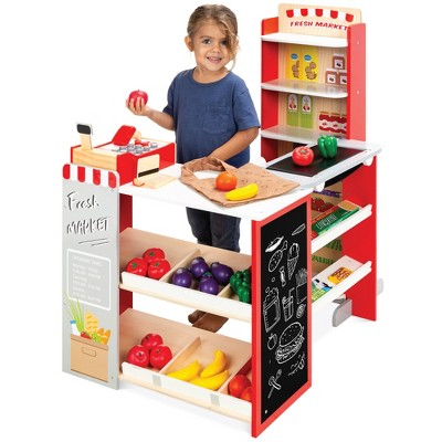 Best Choice Products Kids Pretend Play Grocery Store Wooden Supermarket Toy Set w/ Play Food, Chalkboard, Cash Register