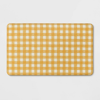 "30""x18"" Check Comfort Kitchen Mat Yellow - Threshold™"
