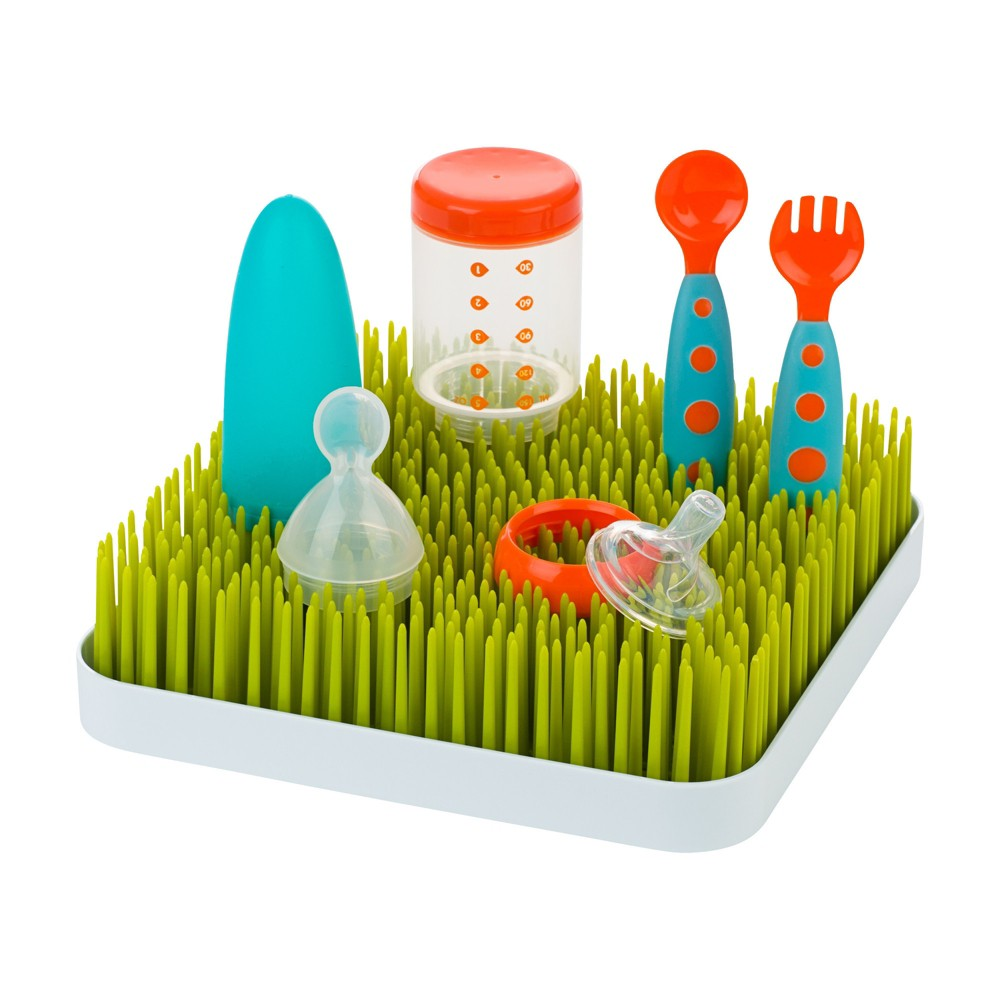Image of Boon Grass Countertop Bottle Drying Rack, Green/White