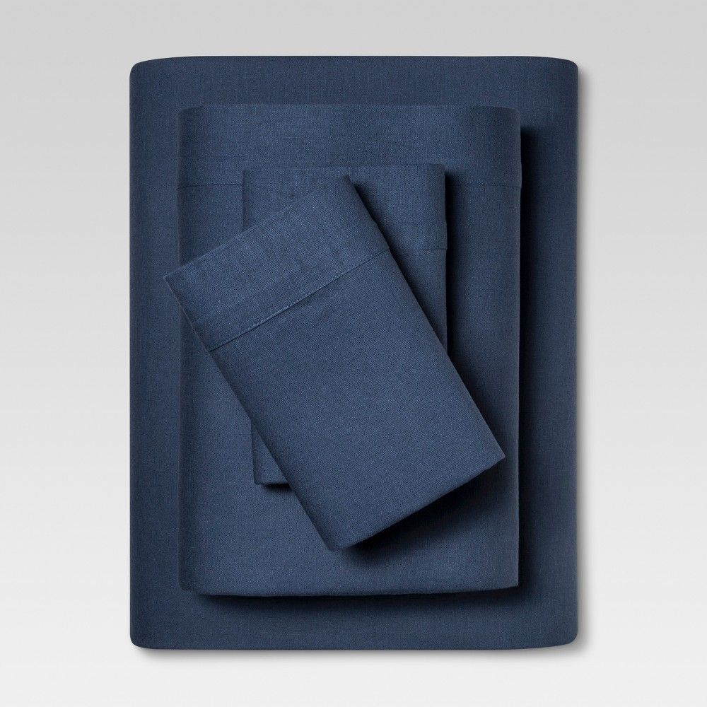 Linen Blend Sheet Set (Full) Metallic Blue - Threshold