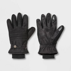 Men's Quilted Thinsulate Lined Tech Touch Snap Gloves - Goodfellow & Co™ Black