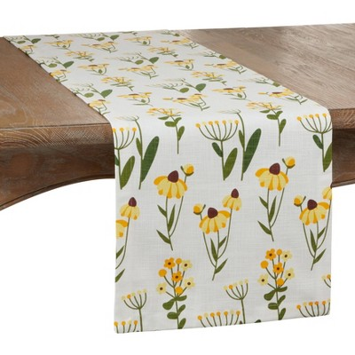 "72"" x 16"" Cotton Daisy Floral Table Runner Yellow - Saro Lifestyle"
