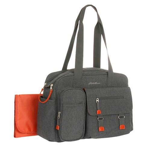 Ed Bauer Flannel Diaper Bag Gray Orange