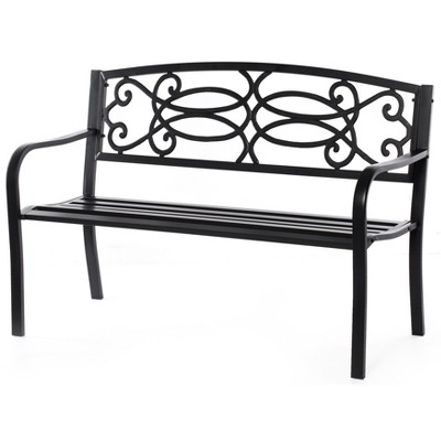 Gardenised Black Outdoor Steel Park Bench Cast Iron Scrollwork Backrest Garden Lawn Decor