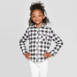 Girls' Long Sleeve Buffalo Plaid Woven Button-Down - Cat & Jack™ Black/White