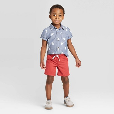 Toddler Boys' 2pc Woven Americana Top and Bottom Set - Cat & Jack™ Blue/Coral 18M