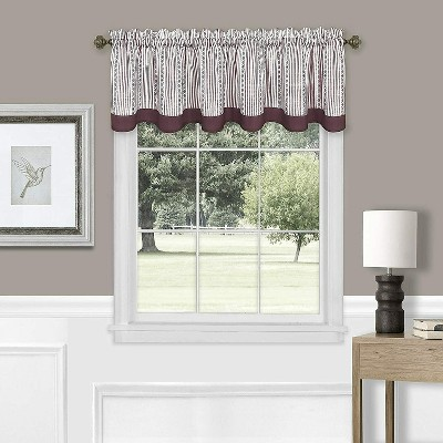 Kate Aurora Living Country Farmhouse Striped Window Valance Curtain Treatments - Assorted Colors