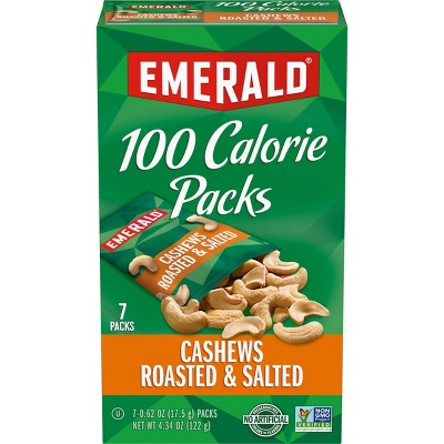 Emerald 100 Calories Cashews Roasted and Salted - 4.41oz/7ct