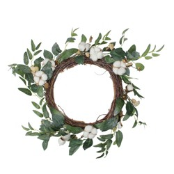 """Northlight 21.5"""" Unlit Cotton Bloom and Leaf Foliage Twig Wreath - White"""