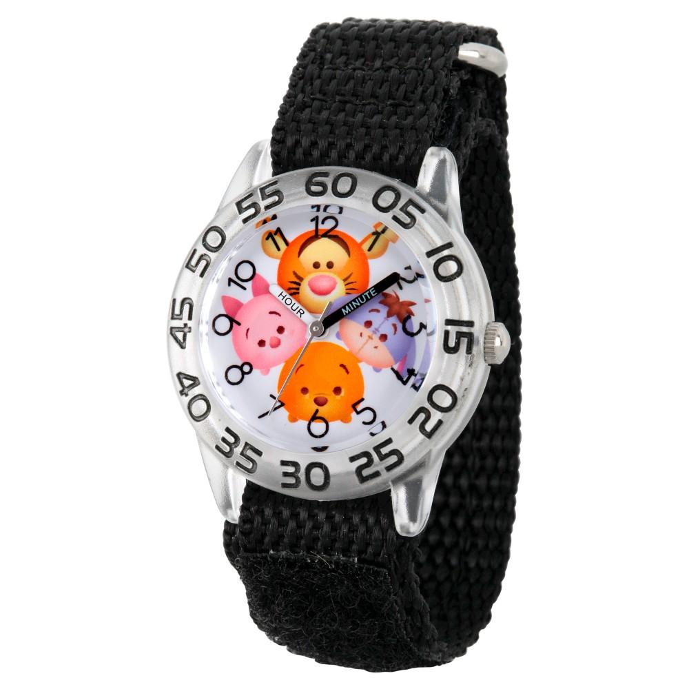 Boys' Disney Tigger-Pooh-Goofy-Eeyore and Piglet Clear Plastic Time Teacher Watch - Black