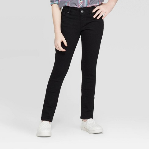 Girls' Ultimate Stretch Skinny Jeans - Cat & Jack™ Black - image 1 of 3