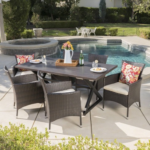 Dion 7pc Aluminum & Wicker Patio Dining Set - Brown - Christopher Knight Home - image 1 of 6