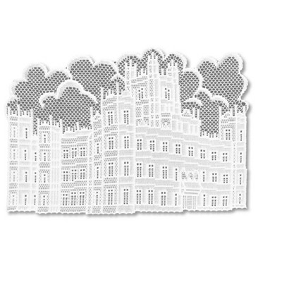 """Heritage Lace 14"""" x 20"""" Downton Abbey British Highclere Castle Table Placemats 4pc - White"""