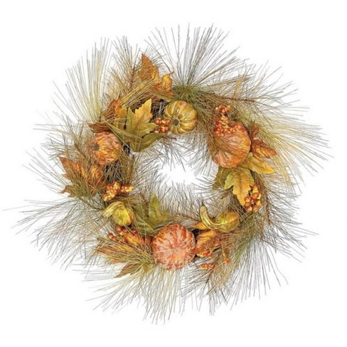 """Northlight 24"""" Unlit Pine Wreath with Gourds, Pumpkins and Fall Leaves Autumn Wreath - image 1 of 1"""