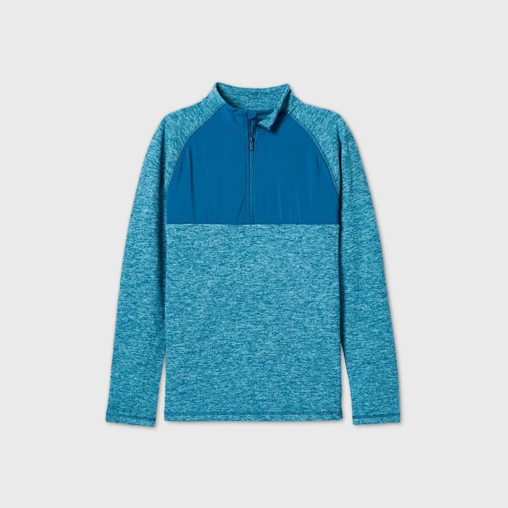 Boys 39 Fleece 1 4 Zip Pullover Sweatshirt All In Motion 8482 Deep Teal Xs