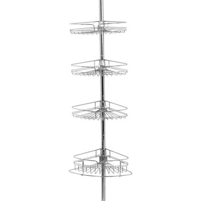 4 Tier Pole Caddy Rust-Resistant Chrome - Zenna Home