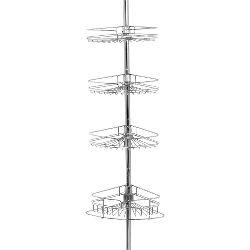Image of 4 Tier Pole Caddy Rust-Resistant Chrome - Zenna Home, Grey