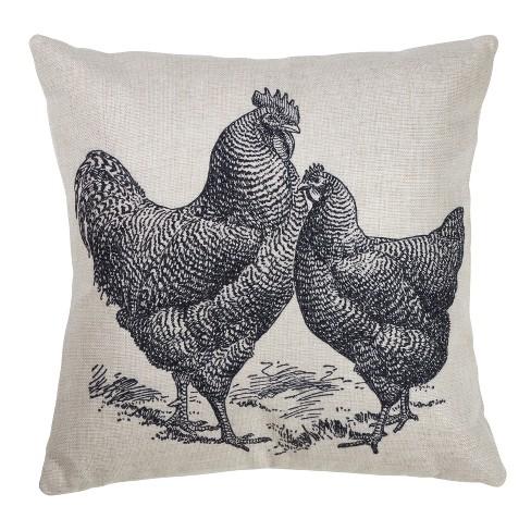 Hen Print Square Throw Pillow Gray - Saro Lifestyle - image 1 of 3