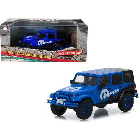 """2012 Jeep Wrangler Unlimited """"MOPAR"""" Off Road Edition Blue """"All-Terrain"""" Series 1/43 Diecast Model Car  by Greenlight - image 1 of 1"""