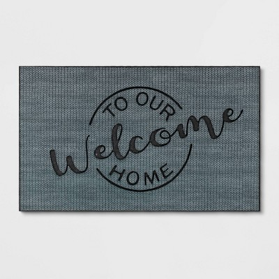 "1'6""x2'6"" Welcome to Our Home Rubber Doormat Gray - Threshold™"