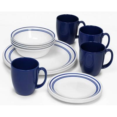 Corelle Livingware 16pc Dinnerware Set Classic Café Blue