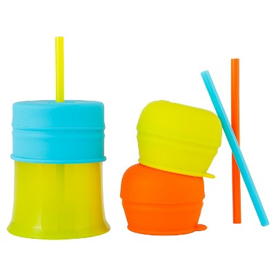Boon Snug Straw Universal Silicone Straw Lids and Cup, Blue