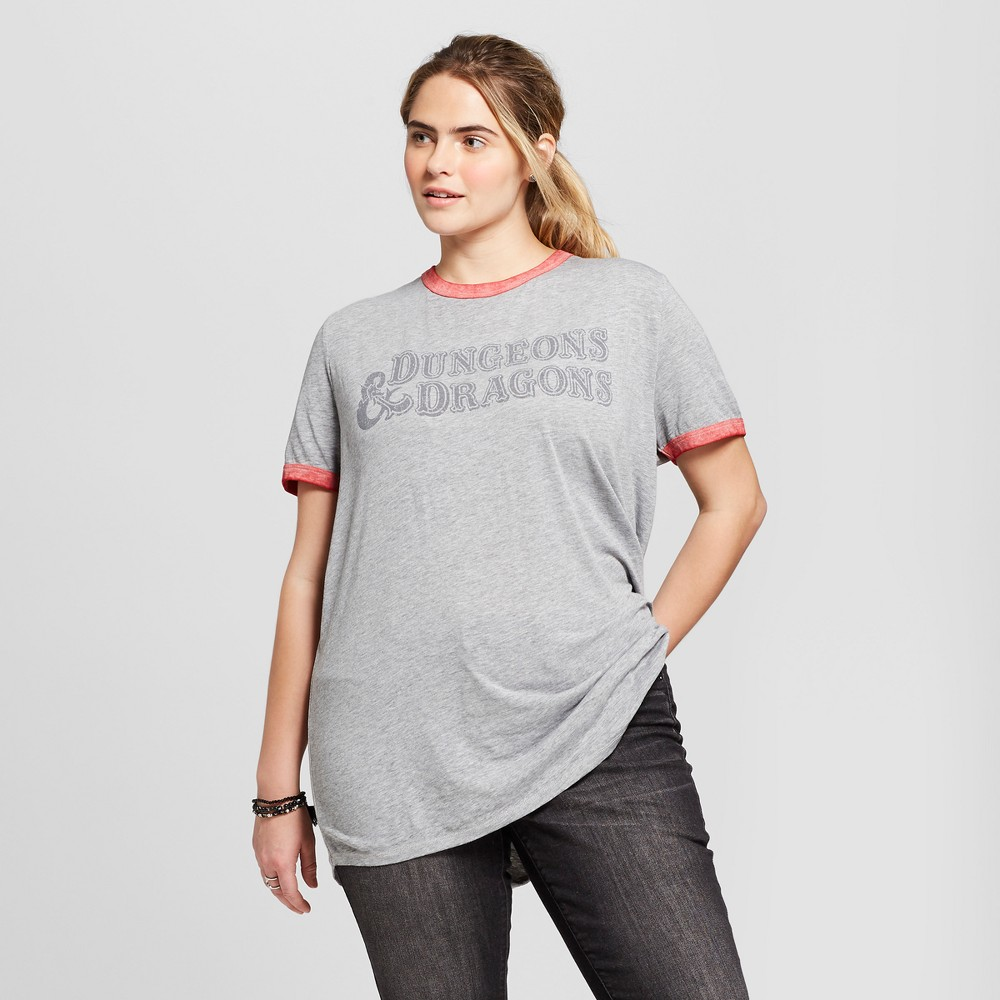Women's Dungeons & Dragons Plus Size Short Sleeve Ringer Graphic T-Shirt (Juniors') - Gray 1X