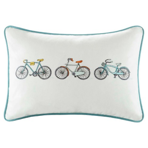 "Aqua Cruz Bicycle Embroidered Cotton Oblong Throw Pillow - (14x20"") - image 1 of 2"