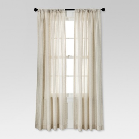 "Leno Weave Sheer Curtain Panel Ivory (54""X84"") - Threshold™ - image 1 of 2"