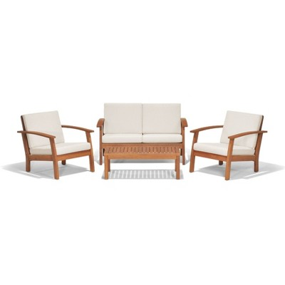 Murano 4pc Patio Eucalyptus Wood Conversation Set - White - International Home Miami