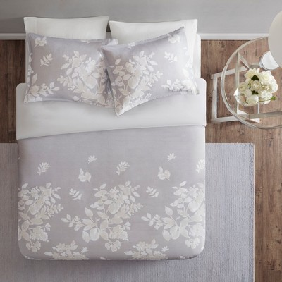 3pc Full/Queen Gisella Cotton Printed Duvet Cover Set Gray