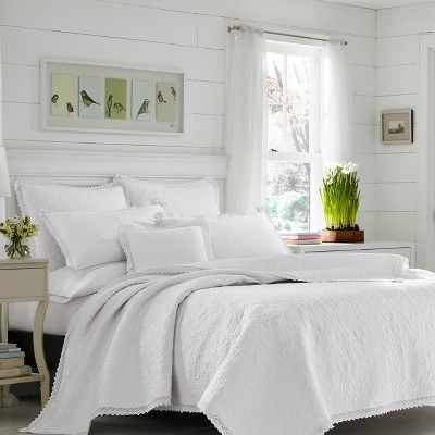 White Heirloom Crochet Quilt Set (King)- Laura Ashley