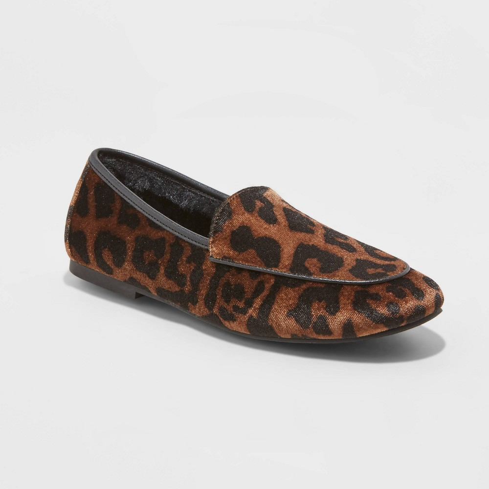 Women 39 S Kasia Leopard Print Faux Fur Loafers A New Day 8482 Brown 8