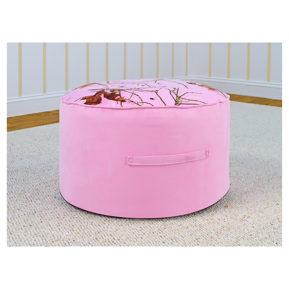Round Foam Ottoman With Handle - Lifestyle Pink With Bubblegum - Mossy Oak Nativ Living
