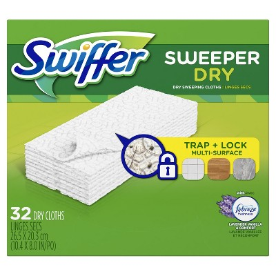 Swiffer Sweeper Dry Sweeping Pad Multi Surface Refills for Dusters Floor Mop Lavender & Vanilla Comfort - 32ct