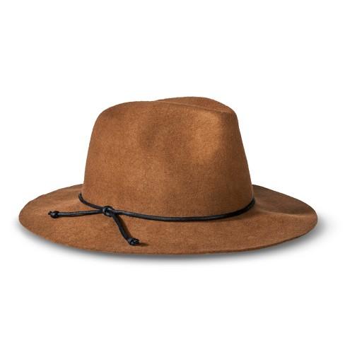 Men's Solid Fedora Hat Brown - Merona™ - image 1 of 1