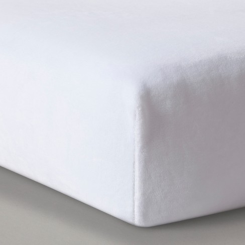 Plush Fitted Crib Sheet Solid - Cloud Island™ White - image 1 of 2