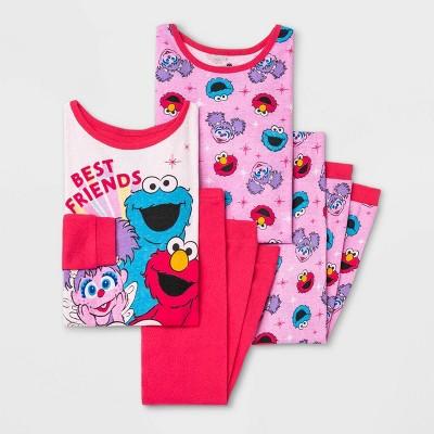 Toddler Girls' 4pc Sesame Street Pajama Set - Pink