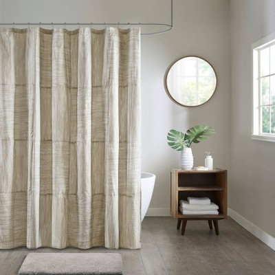 "72""x72"" Kelan Printed Seersucker Shower Curtain Taupe"