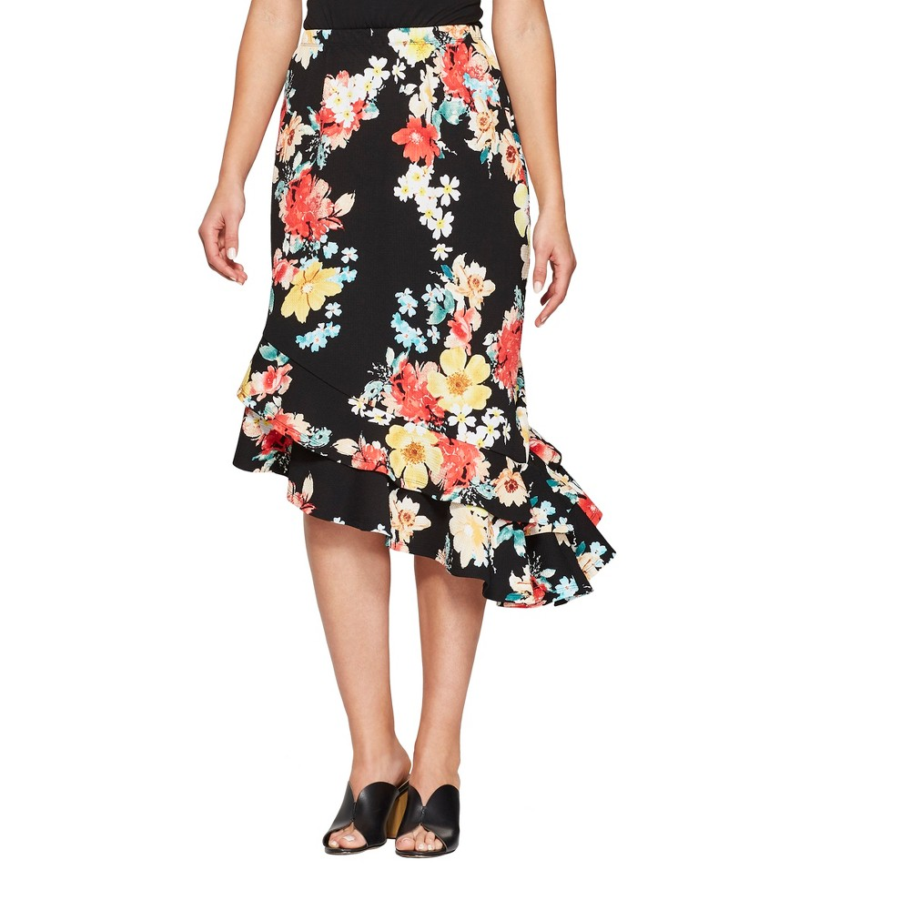 Women's Polka Dot Asymmetrical Ruffle Hem Skirt - Loramendi - Black XL
