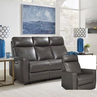 Nuovo Leather Power Motion Reclining Sofa Gray Home Styles