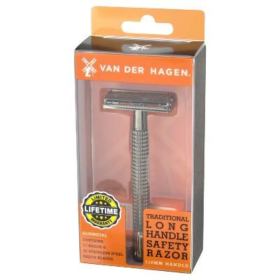 Van Der Hagen 110 MM Traditional Gunmetal Safety Razor with Razor blades - 5pk