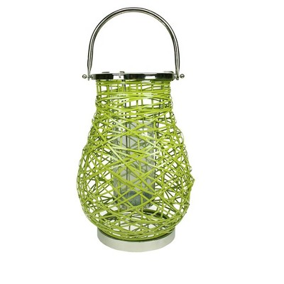 "Northlight 16.25"" Modern Green Decorative Woven Iron Pillar Candle Lantern with Glass Hurricane"