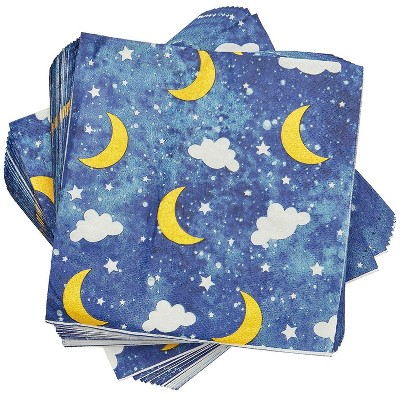 """Sparkle and Bash 100-Pack Twinkle Twinkle Disposable Paper Napkins 6.5"""" Baby Shower Party Supplies"""