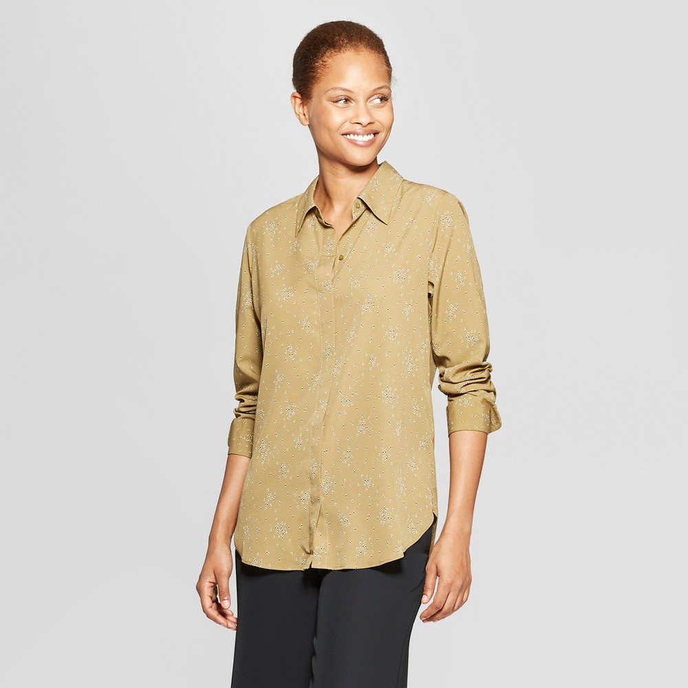 Women's Polka Dot Long Sleeve Collared Blouse - Prologue Olive (Green) XS