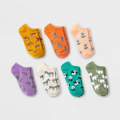Girls' 7pk Animal No Show Socks - Cat & Jack™
