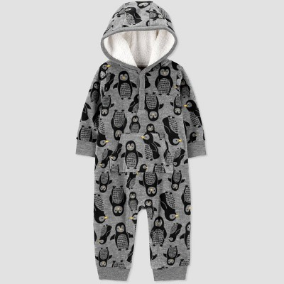 Baby Boys' Penguin Fleece Hooded Romper - Just One You® made by carter's Gray Newborn