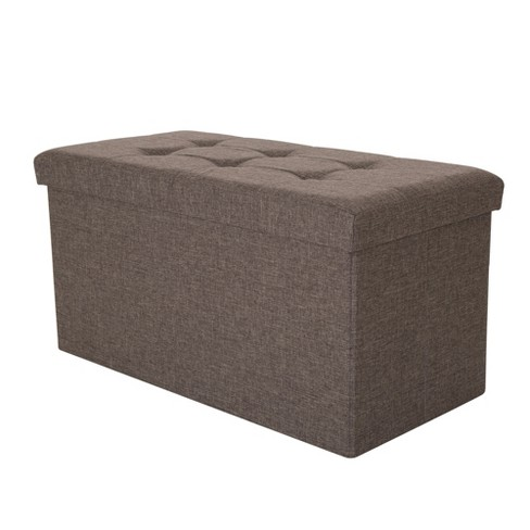 Tufted Linen Foldable Storage Bench - Gray - Glitzhome - image 1 of 5