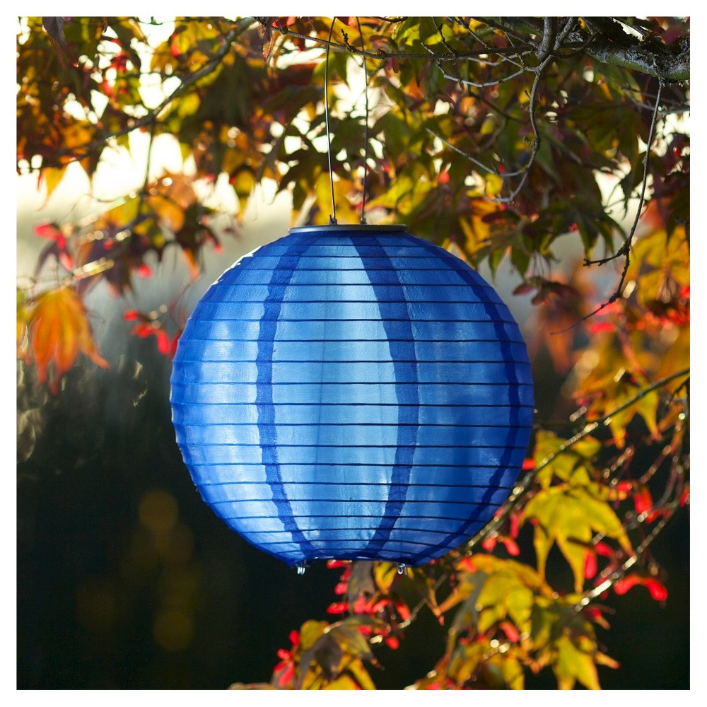 "Image of ""10"""" GLOW Solar LED Outdoor Lantern Blue"""